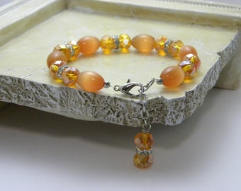 Tangerine Color Beaded Bracelet