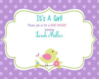 Little Birdie Baby Shower Invitation - It's A Girl Invitation - Birdie Baby Shower - Baby Shower Invite
