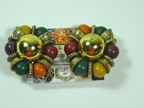 Clasp Vintage earrings - orange, green, purple, yellow, gold