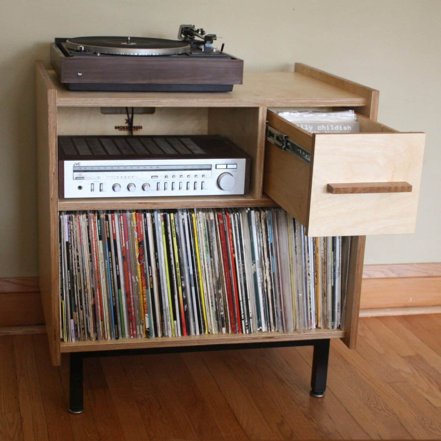 The Princeton Small Audio Credenza With Vinyl LP And