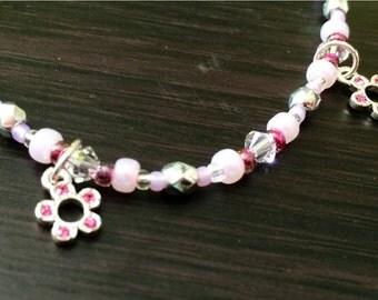 handmade pretty pink flower charm bracelet dainty by 86proof Jewelry