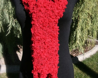 Scarf Red Knit Fabric Wrap with Fringe Christmas Gift