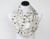 Infinity scarf silky chiffon feminine scarf for Paris France lovers - spring summer scarf for woman and teenage girls