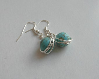 Wire Wrapped Blue Turquoise Earrings