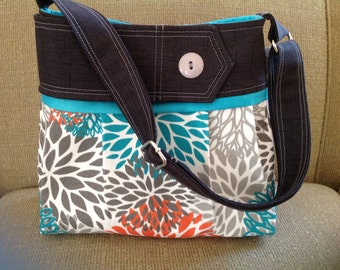 Grey and teal modern blooms purse, damask, bag, purse with teal with button orange purse, charcoal grey