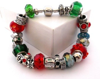 6 1/2 to 8 inch 16 to 21 cm Euro Charm Bead Bracelet, Red and Green, Christmas Present, Gift, Holiday Large Big Hole Beads, ID 205871609