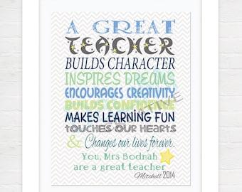 Teacher Appreciation Print - End of Year Teachers Gift - Personalised Teachers Gift - A Great Teacher!