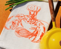 Orange Lobster Dish Tea Towel - Nautical Screen Printed Organic Cotton Flour Sack Towel - Wedding Registry Gift - Eco Friendly Handmade