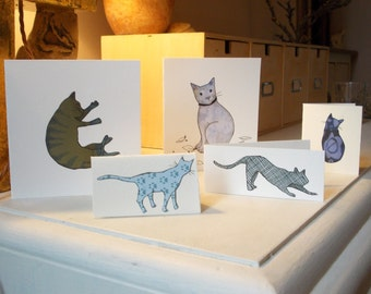 Pack of  5 cat cards. Hand made, unique cards of different sizes with envelopes, nice to send individually look great displayed in a group