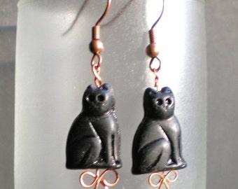 Egyptian black cat earrings