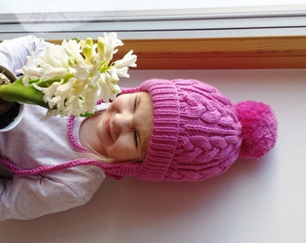 READY TO SHIP All Sizes! Beauty Pink Hand Knit hat for girls and Moms. Pom pom beanie with (out) earflaps.