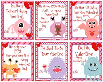 Kids Printable Valentine Cards   Monster Valentine Cards   Instant Download    Digital Valentine