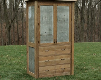 Rustic Linen Cabinet - Reclaimed Barn Wood w/Tin Inserts (Unfinished)  #8622