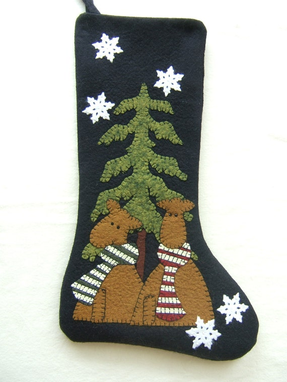 Unique Wool Felt Stocking Hand Appliqued Embellished
