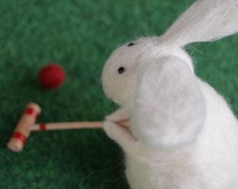 Needle Felt Rabbit Playing Croquet, Handmade, Retirement,OOAK,Bunny,Hare,Croquet,Gift,Needlefelt,Animal,Soft Sculpture,Fibre Art,Miniature