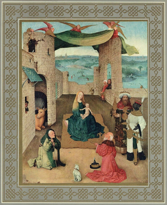 """Large Christian print of Tempera and oil painting by Bosch in 15th century, """"Adoration of the Magi"""", decorative gilt and grey border, 1950s"""