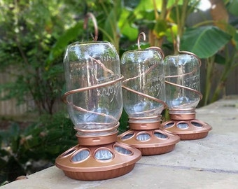 Bronze Mason Jar Bird Feeder, Garden Decor, Mothers Day, Father's Day