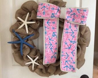 "Lilly Pulitzer burlap wreath with ""Delta Gamma"" sorority fabric"