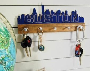 Boston skyline key holder wall mounted modern wood