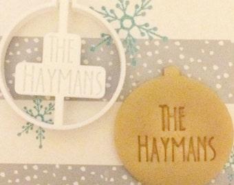 Custom Name Ornament Cookie Cutter