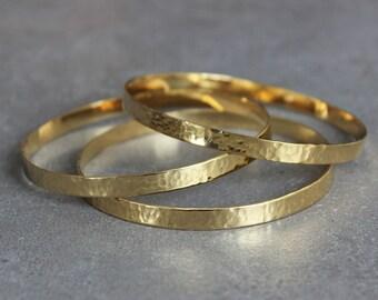 Gold bangle bracelet, gold stacking bracelet, thin gold bangle, gold hammered bangle, gift for her - one bangle.