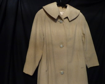 1950's coat BETTIJEAN cream beige wool
