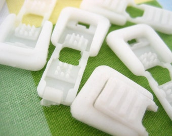 20pcs white Cord Ends Zip Loop Type for two ends of elastic shock bungee cord