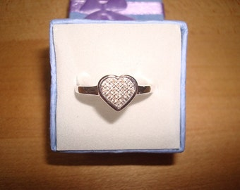 Genuine Natural White Diamond 925 Sterling Silver Heart Ring Size 8.5