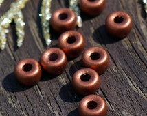 Matte Copper Czech Glass Pony Beads Roller Crow Round Large Hole 6mm X 4mm 50pcs