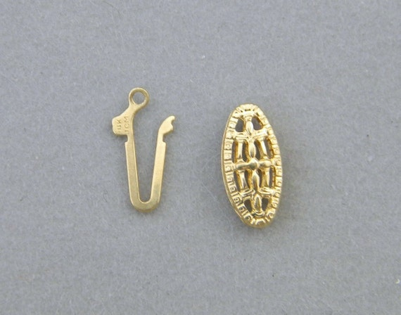 14k solid gold 5mm x11mm oval box fish hook clasp for one for Solid gold fish