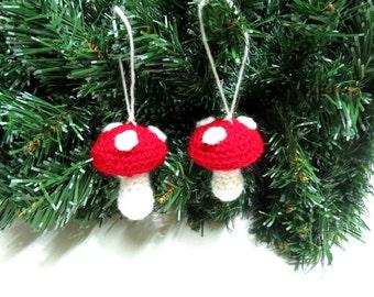 Crochet Mushroom Ornaments Toad Stool Easter Spring