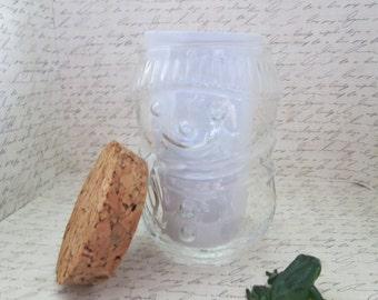 SALE Snowman Glass Canister w Natural Cork Top Glass Jar Glass Storage Kitchen Storage Glass Container Glass Snowman Jar Cork Lid Container