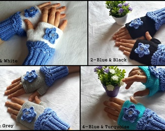 Blue Colored Floral Fingerless Gloves, Handmade Knit Mittens, Crocheted Gloves For Her, Teen girls gifts, Valentines Day Woman Presents
