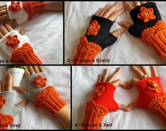 Crochet Gloves Flower For Her, Reddish Fingerless Gloves, Orange Pumpkin Colors, Teen Girls Mittens, Valentines Day Gift