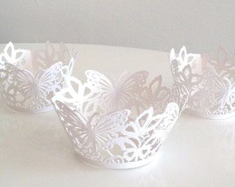 12 Laser Cut Butterfly White Cupcake Wrappers, 12 ct White Shimmer Wedding Cupcake Wrap