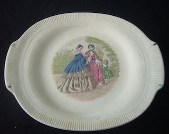 Vintage, Godey Ladies, Fashion Print, Oblong Serving Plate, Salem China Co