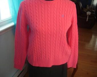 Ralph Lauren Cable Knit, 100% Cotton, Tangerine Sweater