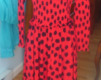 Vintage 1980s, Liz Claiborne, Black and Red, Long Sleeve Dress