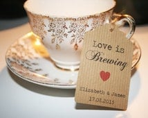 16 Personalised Kraft Love is Brewing - Wedding Favour, Wedding Shower Tags