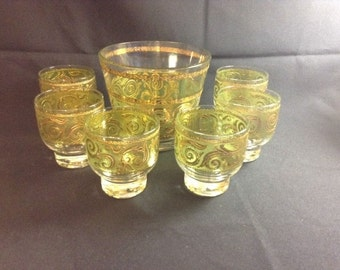 Vintage Culver Drinking Glasses with Ice Bucket