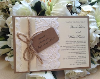 10 x Bespoke Rustic Lace Postcard Wedding Invitations
