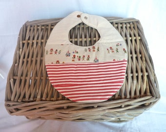 Cute Baby Bib, Gender Neutral, Red Stripes and unique Japanese fabric