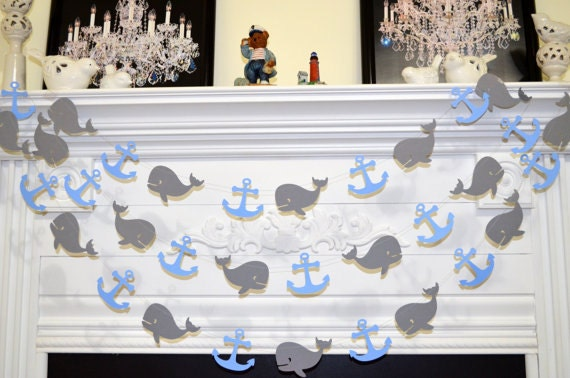 whales and anchors garland baby shower decor baby boy birthday