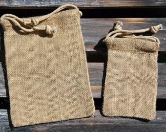 "Small (3"" x 5"") Burlap Drawstring Bag - 4 Quantity"