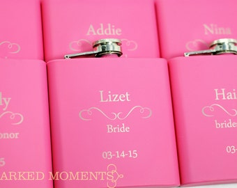 5 Pink Engraved flasks Bridesmaid Gifts Engraved Flasks 6oz for Bride Maid of Honor Honour, bachelorette Hip Flask SET of 5 - CLASSIC DESIGN