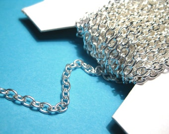 32Ft Spool Bright Silver Plated  Links-Opened Cable Chains 4x3mm(No. 269)