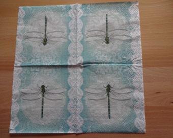 2 x dragonfly napkin, decoupage napkin, lunch napkin, tea party napkin, decoupage paper, collage paper, scrapbooking paper