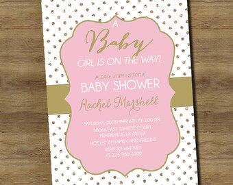 Gold Glitter Baby Girl Shower Invitation _12