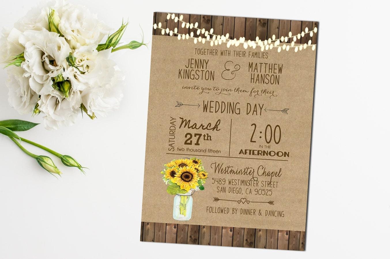 Sunflower Wedding Invitation Mason Jar Rustic Sunflower – Sunflower Wedding Invite