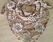 Neutral Color Shawl, Flower Applique Shawl, Large Crochet Shawl, Two Tone Shawl, Large Crochet Shawl, Wedding Shawl, Made to Order Shawl